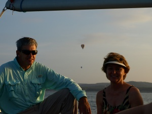 Paul and Shearon on Lake Travis for the balloon flight