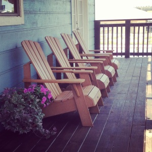 The new adirondack chairs on the deck.