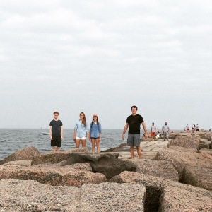 Walking the jetty in Port Aransas is a family adventure!