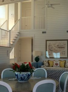 Dining room and living room great area at the Coastal Living Showhouse in Port Aransas