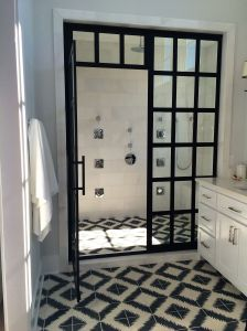 Shower Doors in Master Bathroom at the Coastal Living Showhouse in Port Aransas.
