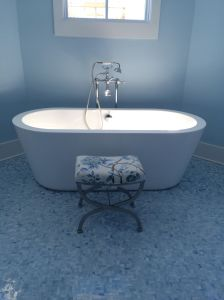 Large soaking tub in master bathroom at the Coastal Living Showhouse in Port Aransas.