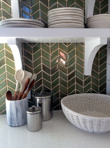 Gorgeous tile back splash in the kitchen of the Coastal Living Showhouse in Port Aransas.