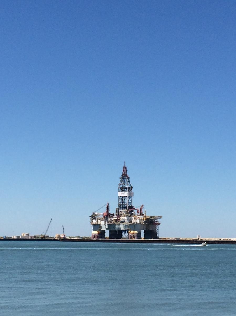 Oil rig temporarily stored near ferry landing in Port Aransas.